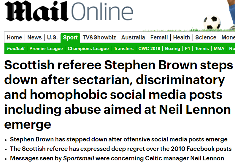 Referee steps down for bigoted posts - The Terrace - Jambos Kickback