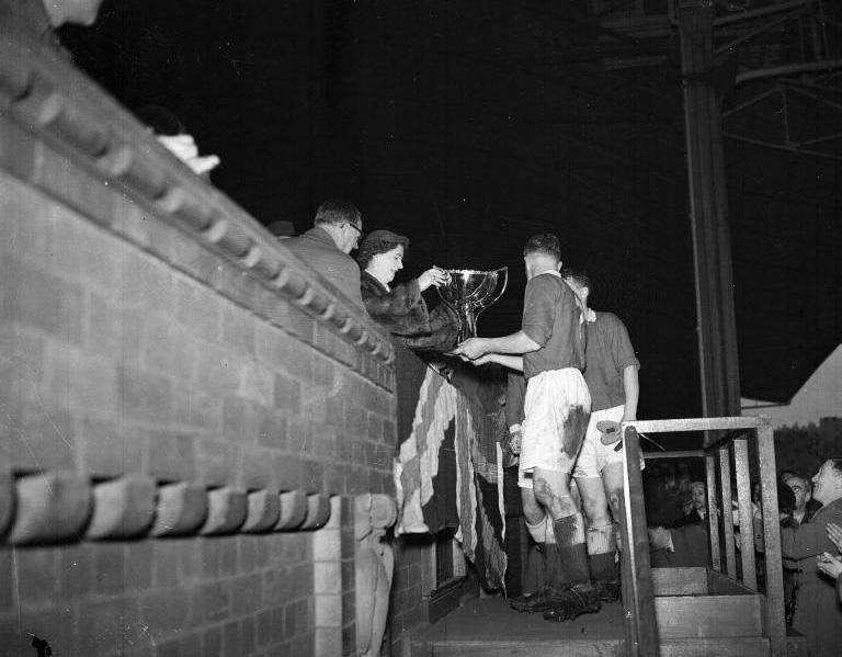 1954 League Cup, Parker accepts the Trophy.jpg