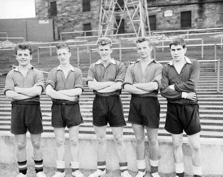 Hearts new signings 1957-58, Kelly, McIntosh, Clark, Cunning.jpg