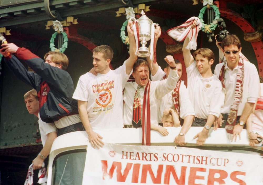 Manager Jim Jeffries clinched the club's first silverware in 36 years with 2-1 win over Rangers in the 1998 Scottish Cup Final-.jpg